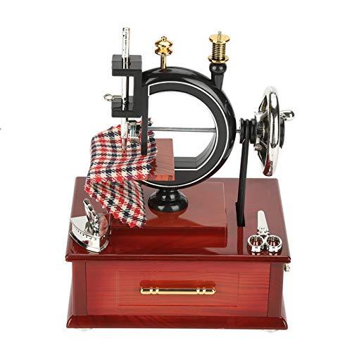 QiruIXinXi Caja musical de estilo vintage, creativa retro máquina de coser reloj caja de música, regalo perfecto de cumpleaños para tus amigos, compañeros de clase, universidades, muy romántico