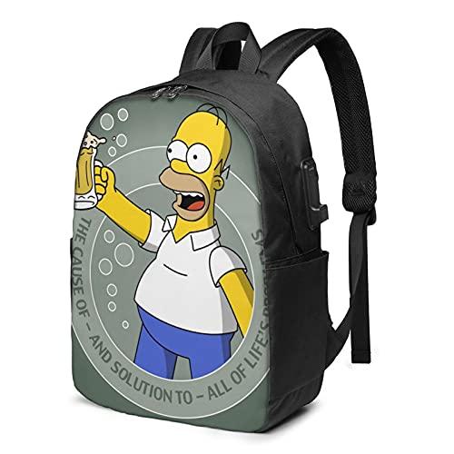 Simpson Homer Mochila de viaje de negocios con cable de carga USB, interfaz de auriculares de gran capacidad para portátiles de 13 a 17 pulgadas