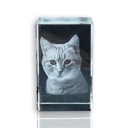 VIP-LASER 2D Glaskristall (Größe: L) mit Deinem Foto/Tierfoto/Katzen oder Hunde-Foto und Text (60x40x40mm)