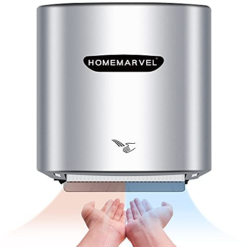 HOMEMARVEL Commercial Hand Dryer, Automatic Hand Dryer, Electric Hand Dryers for Bathroom/Restroom, Cold/Hot Air Hand Dryer Wall Mounted for Home/Kitchen, Long Motor Life up to 288000 Times, Silver