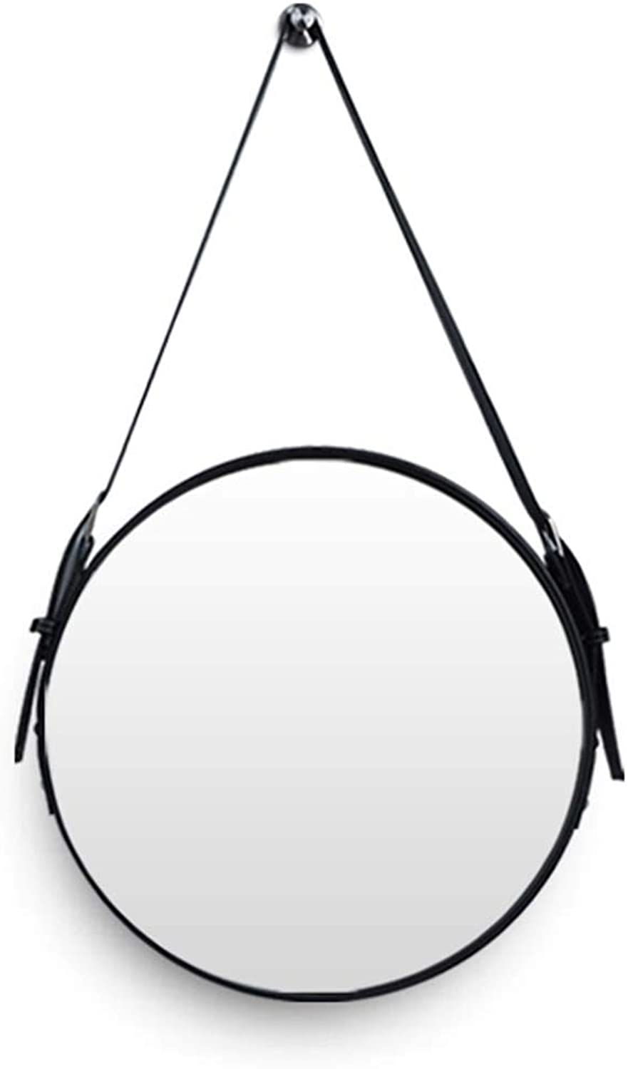 Vanity Mirrors Diameter 20-28Inch Leather Round Wall Mirror Decorative Makeup Mirror with Hanging Strap Silver Hardware Hook(Black)