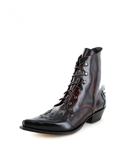 Sendra Boots Damen Stiefelette 11699 Schwarz Rot Westernstiefel, Groesse:42