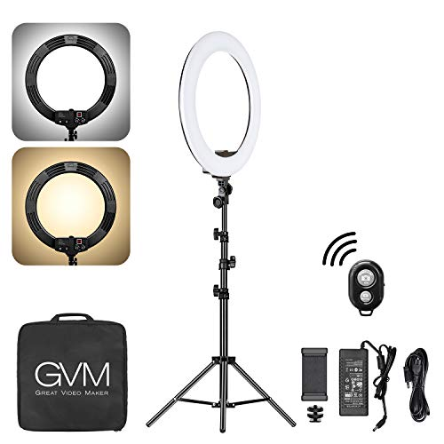 GVM 18 inch Bi-Color led Video Ring Light with Tripod and Bluetooth, 55 watts high Power, Auxiliary Makeup, Tiktok and Live Fill Light, Vlog Selfie Video Photography Lighting dimmable 3200-5600K