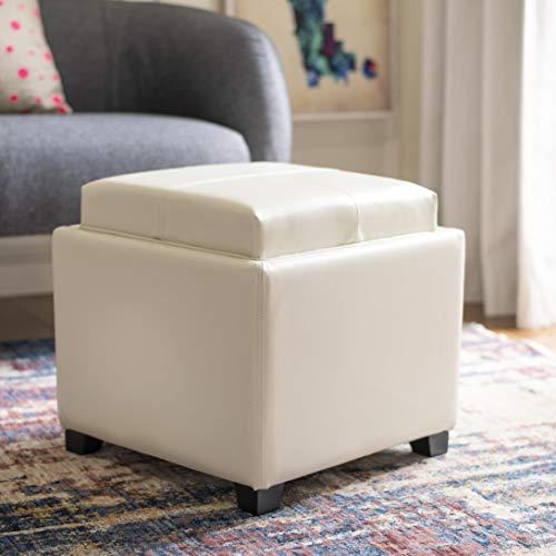 SAFAVIEH Home Collection Harrison Flat Cream Single Tray Square Foot Rest Storage Ottoman