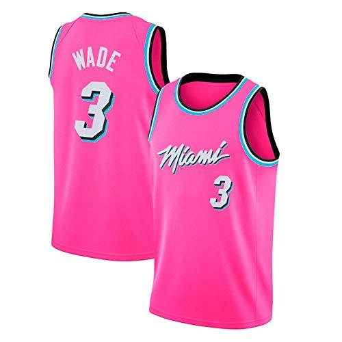 WOLFIRE WF Camiseta de Baloncesto para Hombre, NBA, Miami Heat #3 Dwyane Wade. Bordado, Transpirable y Resistente al Desgaste Camiseta para Fan (Rosa, M)