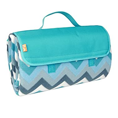 yodo Outdoor Water-Resistant Picnic Blanket Tote,Spring Summer Blue Chevron