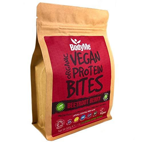 BodyMe Organic Vegan Protein Snacks Bites | Raw Beetroot Berry | 100 Protein Snack Bites | 27 Percent Protein | Gluten Free | 3 Plant Proteins | All Essential Amino Acids | High Protein Vegan Snacks
