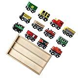 TOYANDONA 12 Piezas de Tren Magnético de Juguete de Locomotora de Tren para Niños Juego de Coches de Vehículo Educativo Temprano Pista de Tren de Madera para Niños Y Niñas