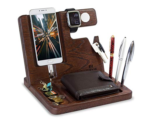 Teslyar Natural Oak Wood Phone Docking Station Key Holder Wallet Watch Stand...