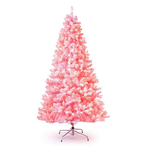 KING OF CHRISTMAS 7.5' Pink Flock Artificial Christmas Tree Pre-lit with 600 Warm White LED Lights