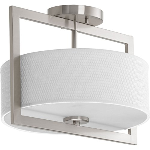 Progress Lighting P3529-09 Traditional Three Light Semi-Flush Convertible from Harmony Collection in Pwt, Nckl, B/S, Slvr. Finish, Brushed Nickel