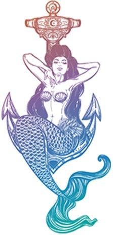 Divine Designs Sexy Vintage Pin Up Mermaid Cartoon - Pastel Ombre Vinyl Decal Sticker (4