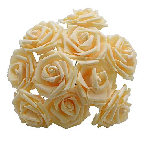10/20 Köpfe 8 cm Neue Künstliche PE Schaum Rose Blumen Braut Blumenstrauß Home Blume Hochzeit Dekorationen Scrapbooking DIY Blume (Color : Dark Champagne, Size : 20 Pieces)