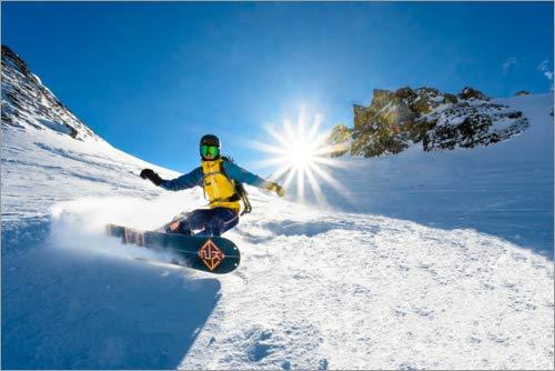 Posterlounge Cuadro de PVC 100 x 70 cm: Snowboarder with splitboard Rides in The Snow de Moritz Wolf/imageBROKER