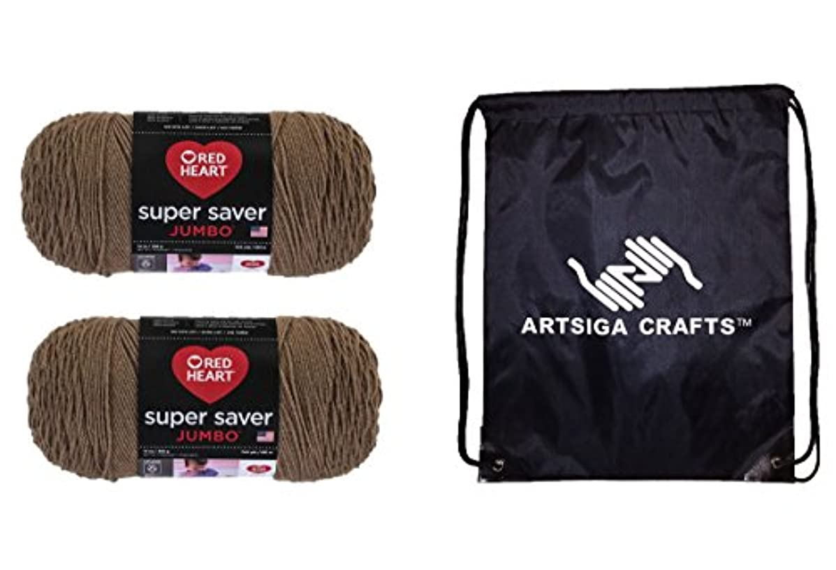 Red Heart Super Saver Jumbo Yarn (2-Pack) Cafe Latte E302C-0360 Bundle with 1 Artsiga Crafts Project Bag