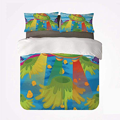 Duvet Cover Set Outer Space Decor Soft 3 Piece Bedding Set,for Kids Scary Monster in UFO on Planet Solar System Galaxy Funky Back for Bedroom