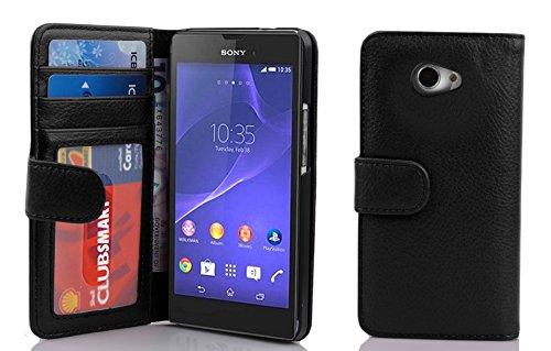 Cadorabo Hülle für Sony Xperia M2 / M2 Aqua in Oxid SCHWARZ – Handyhülle mit Magnetverschluss & 3 Kartenfächern – Hülle Cover Schutzhülle Etui Tasche Book Klapp Style
