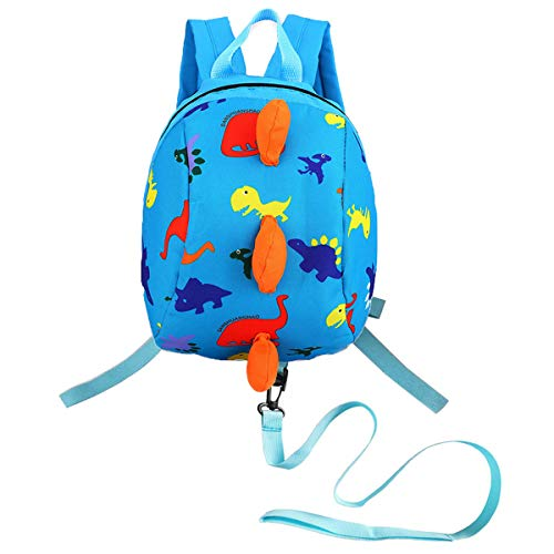 DD Toddler Boys Girls Kids Dinosaur Backpack, Cartoon Safety Anti-lost Strap Rucksack with Reins (Sky Blue)