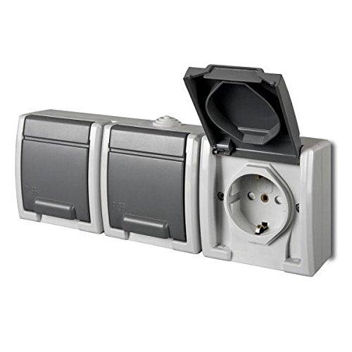 Aufputz Schuko dreifach Steckdose IP55 Farbe grau Feuchtraum AQUANT