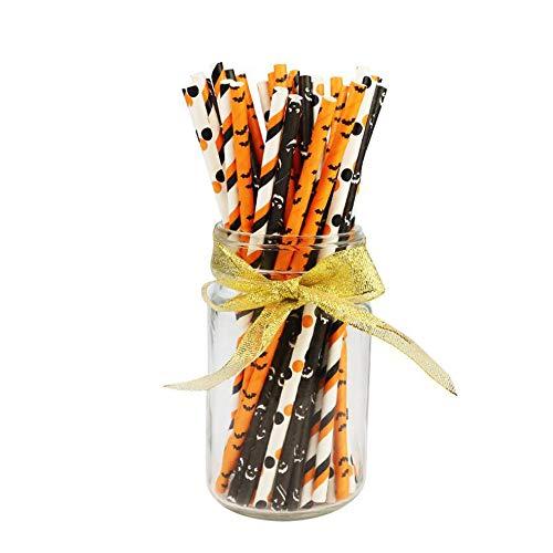 kungfu Mall 25pz Halloween Cannucce Monouso Carta Partito Cannucce Pipistrello Modello per Halloween Festa di Compleanno