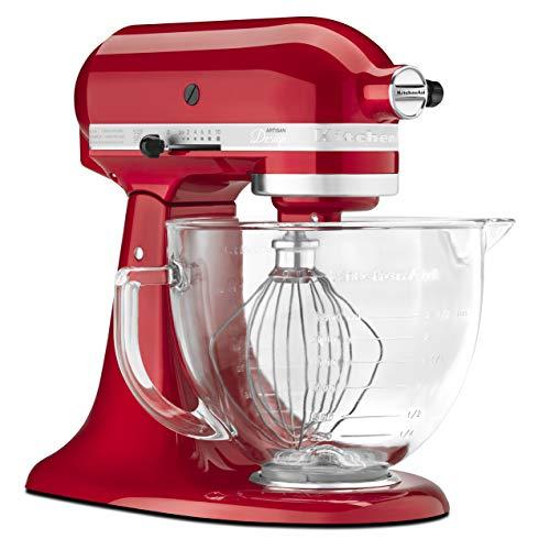 KitchenAid KSM155GBCA 5-Qt. Artisan Design Series with Glass Bowl - Candy Apple Red