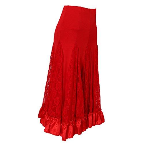 P Prettyia Vestido Encaje Cuadrado Faldas de Ropa de Baile Accesorios Cómodo Accesorios de Mujer - Rojo