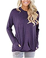 ONLYSHE Womens Shirt Long Sleeve Sweatshirt Pocket Pullover Blouse and Tops