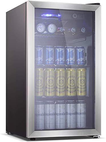 Antarctic Star 26 Bottle Wine Cooler Wine Cellar Beer Soda Clear Front Glass Door Counter Top Bar Fridge Quiet Operation Compressor Adjust Temperature Freestanding BlacK