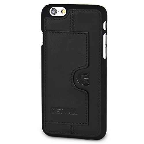 detuma Sima Carcasa para móvil iPhone 6S/6, de cuero auténtico, carcasa trasera, protectora, con tarjetero, Roys Schwarz II (negro) - 4260451540296