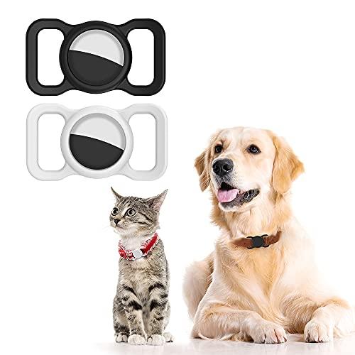 NOROTA Silikon Schutzhülle ist passend kompatibel GPS Apple Airtag-verwendet für GPS Tracker Hund und Katzenhalsband und ausgestattet Airtag Zubehör 4 Stück Schutzfolie (2 Stück, schwarz + weiß)