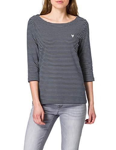 Tom Tailor 1024035 Stripe Camiseta, 26033-Zapatillas de Rayas pequeñas, Color Azul Marino, XXL para Mujer