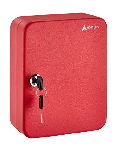 AdirOffice Key Steel Security Storage Holder Cabinet Valet Lock Box (30 Key, Red)