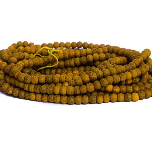 Divine Products India Turmeric Haldi Beads 5 Strands 540 Yellow Curcumin Natural 7mm Turmeric Bulb Beads