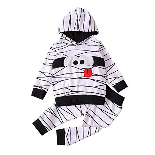 WANGSCANIS - Juego de 2 piezas de ropa de Halloween de manga larga con estampado de dibujos animados de rayas blancas + conjuntos de pantalones elásticos