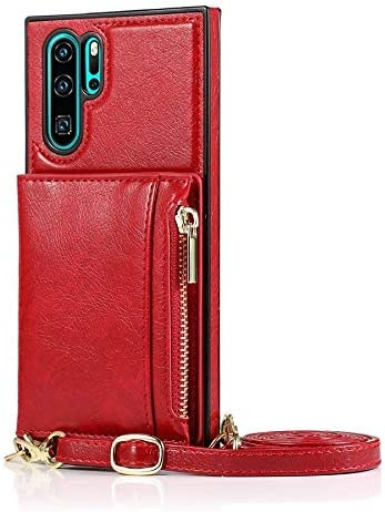 SLDiann Case for Huawei P30 Pro, Zipper Wallet Case with Credit Card Holder/Crossbody Long Lanyard, Shockproof Leather TPU Case Cover for Huawei P30 Pro (Color : Red)