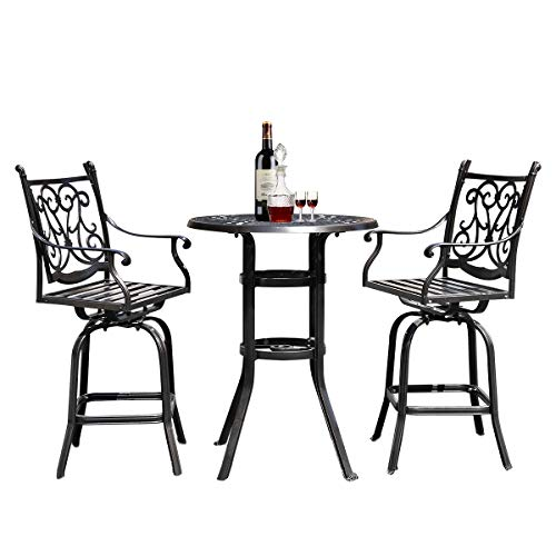 Round Cast Aluminum Outdoor Dining Table With Chair 3 Pcs Garden Furniture Garden (Color : Set)