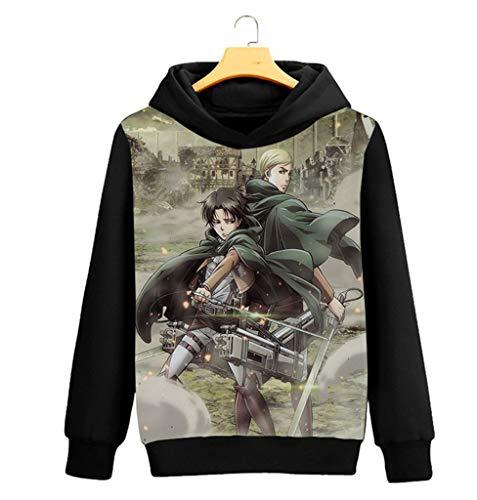 Cosstars Attack on Titan AOT Anime Kapuzenpullover Sweatshirt Cosplay Kostüm Hoodie Mantel Pulli Sweater Schwarz 10 S