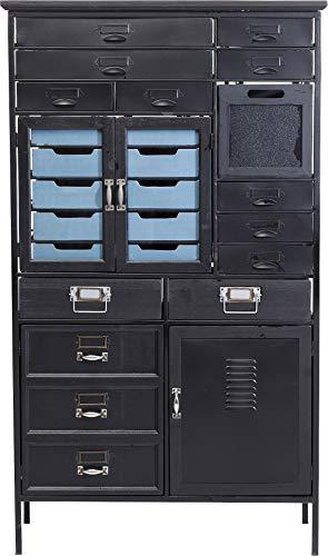 Kare Design Kommode Art Factory Schwarz, Kommode im Industrial Style mit Türen und Schubladen, Vintage Optik, (H/B/T) 132,5x76,5x32cm