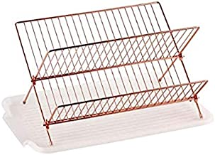 Deluxe Chrome-plated Steel Foldable X Shape 2-tier Shelf Small Dish Drainers with Drainboard (Copper)
