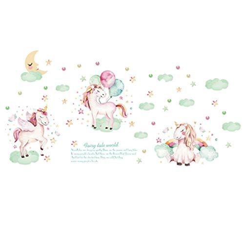 Mooie Cartoon Dieren Muurstickers Verwijderbare Muurstickers Huisdecoratie PVC Art muurschildering Baby Jongens Meisjes Kids Slaapkamer Keuken Kamer Decoratie Cartoon Unicorns Ballons Moon