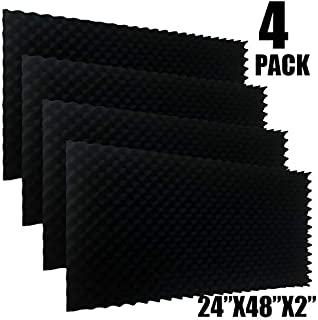 "4PACK 48""X 24""X 2"" Black Acoustic Panels Studio Soundproofing Foam Wedge Tiles,"