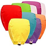Sky Lanterns Multicolour Wishing Flying Night Sky of Candle for Diwali/Marriage/Christmas/Birthday/All Festival Multicolor (10) Large Size