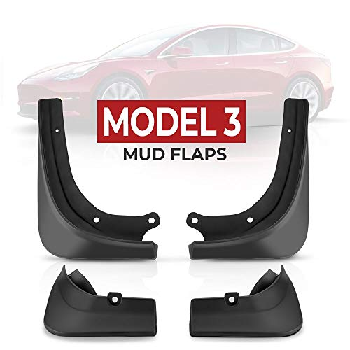 BougeRV Schmutzfänger Spritzschutz Satz für Tesla Model 3, Auto Schutzbleche vorne hinten Links rechts Klappe Kotflügel (4 Teileg Satz)