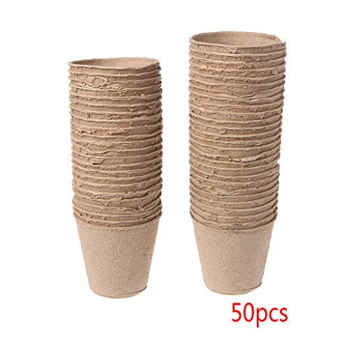 KINTRADE 50Pieces Round Biologisch abbaubare Papierzellstoff Torf Töpfe Plant Nursery Cup Tray Garden Neu