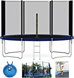 mcc direct Heavy Duty Trampoline 6FT 8FT 10FT 12FT 14FT Outdoor Trampoline with Enclosure Net for Kids Spring Cover Ladder FREE Space Hopper (8FT)