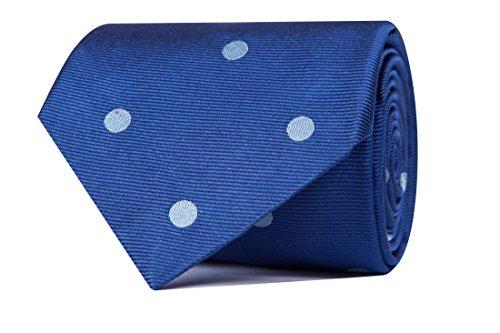 Sologemelos - Cravate Cercles - Bluette 100% soie naturelle - Hommes - Taille Unique - Confection artesanale Made In Italy