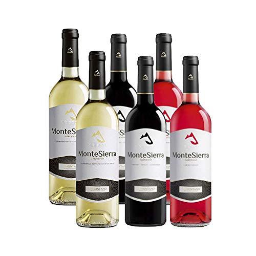 Pack de vinos MonteSierra Seleccion - Vino blanco, rosado y tinto - D.O. Somontano - Mezclanza Barbadillo (Pack de 6 botellas)
