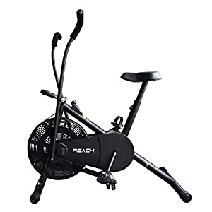 Reach Air Bike Exercise Cycle With Moving Handles & Adjustable Cushioned Seat