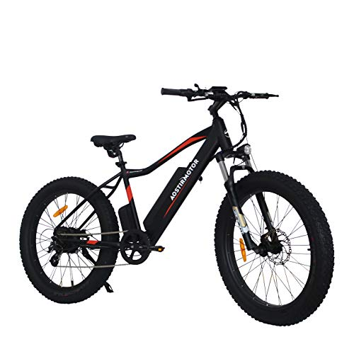 WSMON Electric Mountain Bike Fat Tires Electric Bicycle with 750W Motor, 48V10.4AH Removable Lithium Battery, Shimano Outer 7 Speed, Aostirmotor Electric Mountain Bike for Adults(Black)