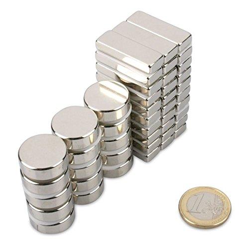 MAXI-Sortiment für jeden Mann mit 45 Magneten aus Neodym Supermagnete, die stärksten Magnete der Welt